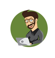 Cartoon of young hipster man with laptop vector