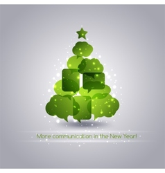 Christmastree with speech bubbles background vector image vector image