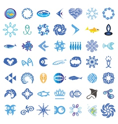 Collection of icons with the fishes vector