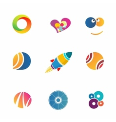 Colorful abstact icons set vector image vector image