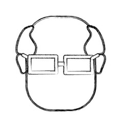 Contour old face man with glasses vector