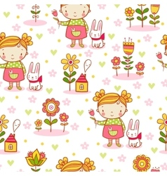 Cute cartoon girl seamless pattern vector image