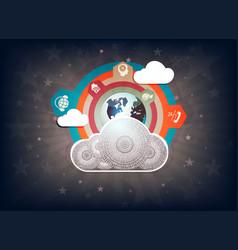 Dark design with computer cloud vector