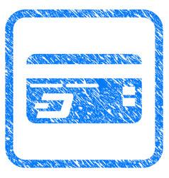 Dash bank card framed stamp vector