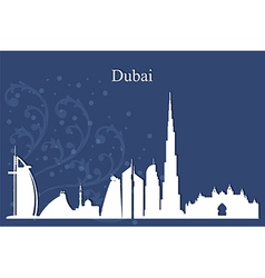 Dubai city skyline on blue background vector image vector image