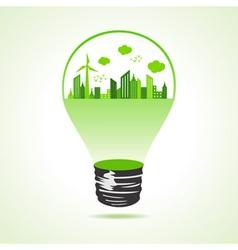 Eco cityscape in bulb vector image