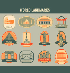 Famous monuments and landmarks collection labels vector