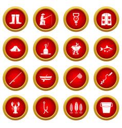 Fishing tools icon red circle set vector