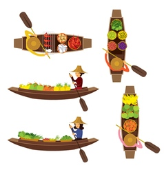 Floating market seller object set vector