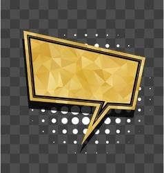 Gold sparkle square comic text balloon vector