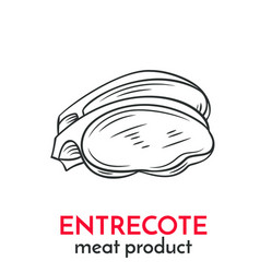 hand drawn entrecote icon vector image