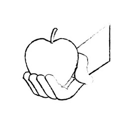 hand holding fresh apple food vector image