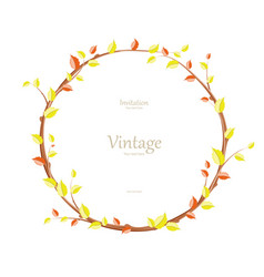 invitation card with graceful autumn wreath for vector image vector image