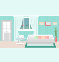 Living room interior with furniture laptop vector