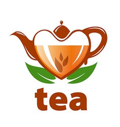 Logo teapot in the shape of a heart and leaves vector