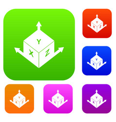 measurement cube square set color collection vector image vector image