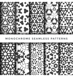 Monochrome abstract seamless pattern set vector