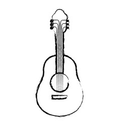 monochrome blurred silhouette of acoustic guitar vector image vector image