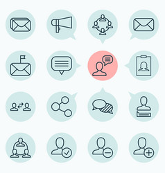 Network icons set collection of message bullhorn vector