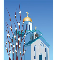 Orthodox church and willow vector