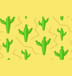 seamless cacti in desert pattern cactus texture vector image
