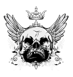 Skull with wings vintage t-shirt design vector