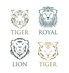 tiger head royal badge with beautiful animal vector image vector image