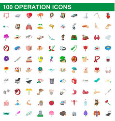 100 operation icons set cartoon style vector