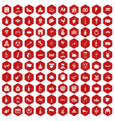100 wine icons hexagon red vector