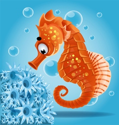 Sea horse on a blue background with actin vector image