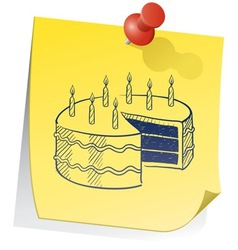 doodle sticky note birthday cake vector image