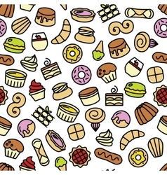 world best desserts and sweets seamless pattern vector image