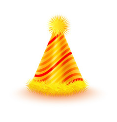 Striped yellow party hat with pompons icon vector
