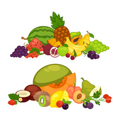 Fruits and berry food farm products flat vector