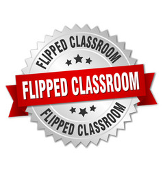 Flipped classroom round isolated silver badge vector
