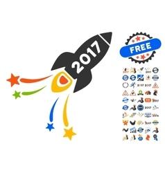 2017 fireworks rocket icon with 2017 year bonus vector