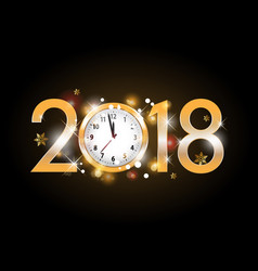 2018 new year golden letters with clock on black vector