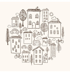 Houses doodles in circle vector