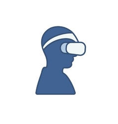 Man wearing virtual reality headset vector