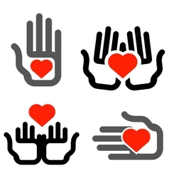 Hands and heart logo design template vector