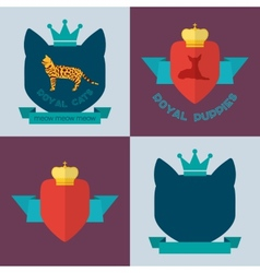 Royal pets flat badges vector