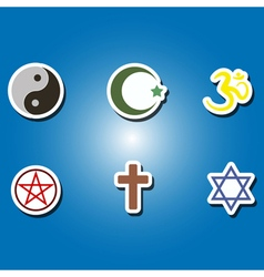 Set of color icons with religious symbols vector