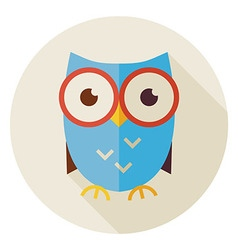 Flat knowledge bird owl circle icon with long vector