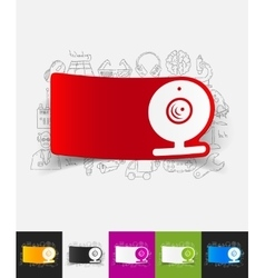 Webcam paper sticker with hand drawn elements vector
