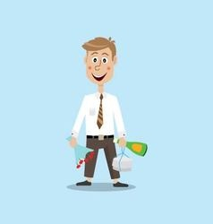 Guy with a bouquet of flowers and champagne vector