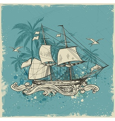 Vintage background with sailing vessel vector