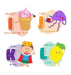 Alphabet children colored letter i j k l vector