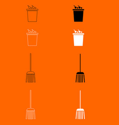 Bucket and broom black and white set icon vector