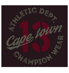 Cape town sport t-shirt design vector