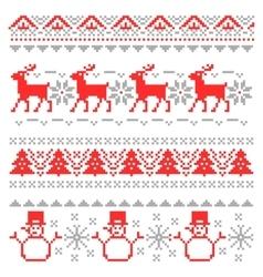 Christmas traditional scandinavian pixel borders vector